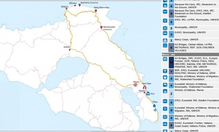 Ο χάρτης και η δράση των ΜΚΟ στη Λέσβο